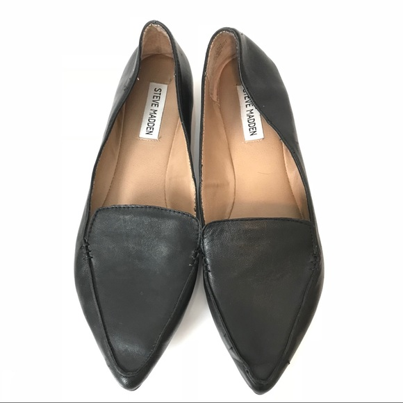 be5d5431c41 Steve Madden Feather Black Leather Loafer Pointy